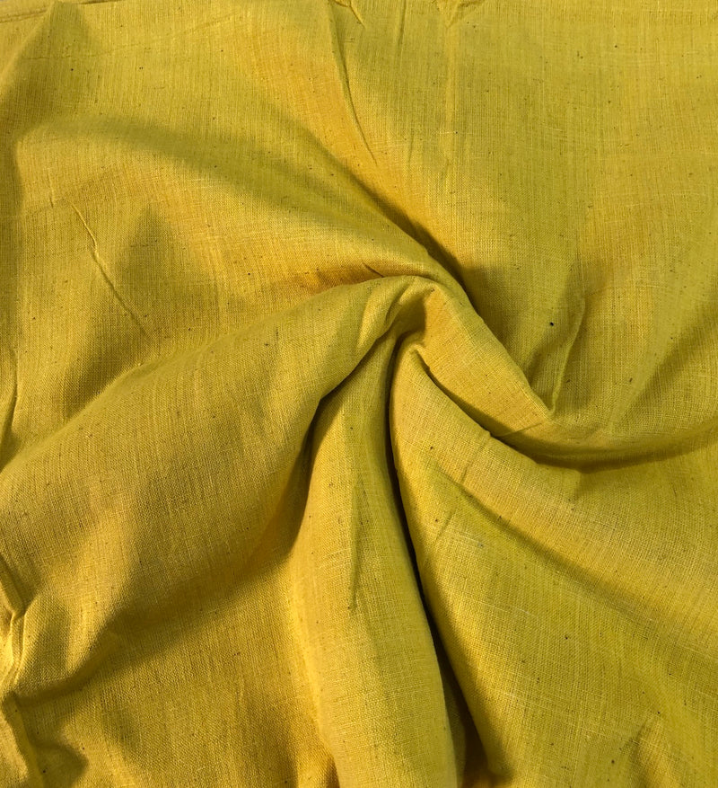 Hand spun Handwoven Natural Dye Yellow Cotton Fabric