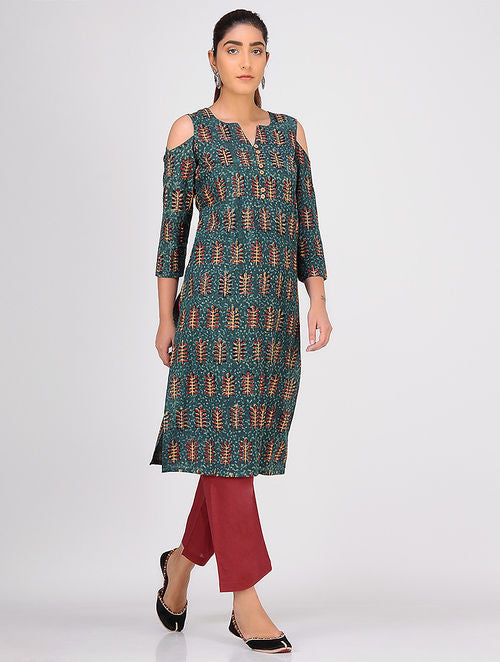 Madder Green Balotra Cold Shoulder Kurta