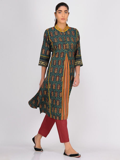 Madder Green Balotra Front Pleated Kurta