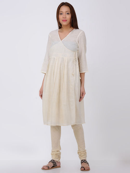 Ivory Pleated Angrakha Kala Cotton Kurta