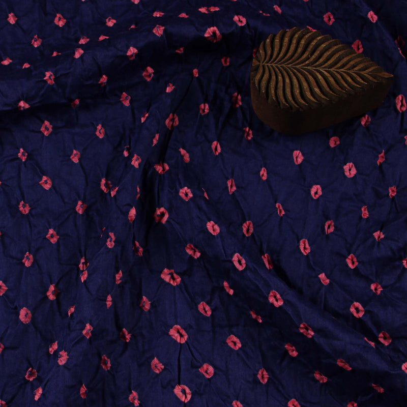 Blue - Pink Dots Bandhej Cotton Fabric (2.5 meters)