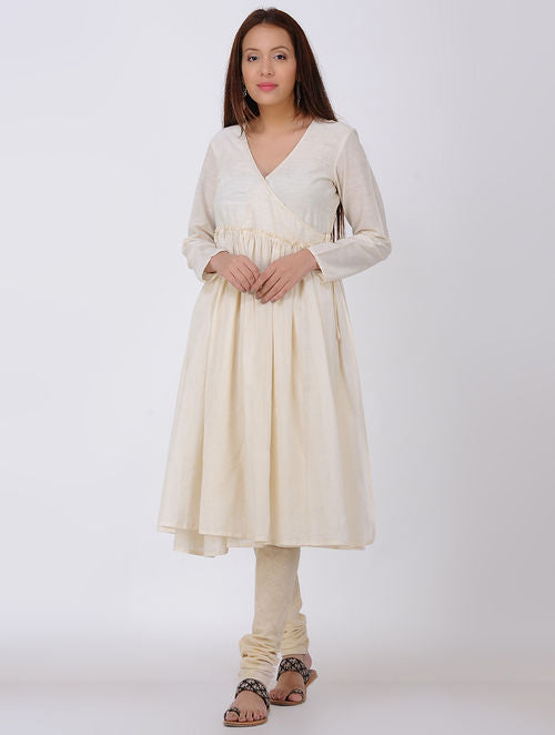 Ivory Gathered Angrakha Kala Cotton Kurta