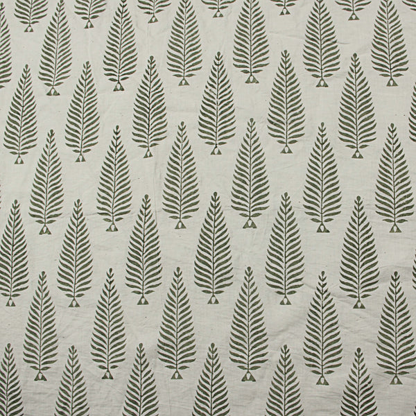 Natural Dyed White - Green Block Printed Cotton Fabric