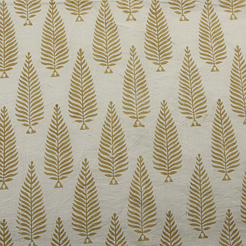 Natural Dyed White - Yellow Block Printed Cotton Fabric