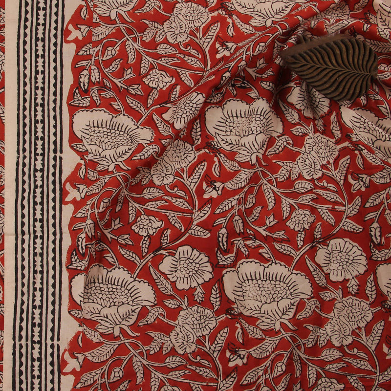 Natural Dyed Bagru Jaal Phool Hand Block Cotton Fabric