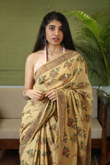 Rose Kalamkari Mul Cotton Saree | Natural Dyed