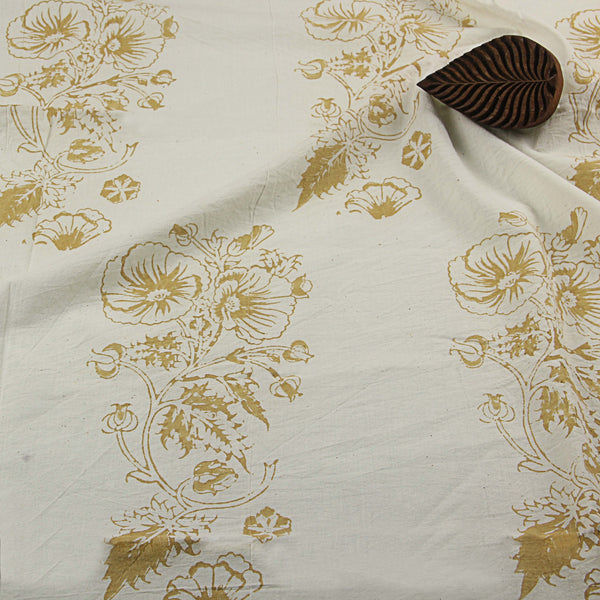 Natural Dyed White - Yellow Hibiscus Block Print Cotton Fabric