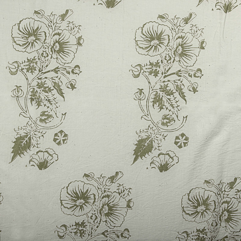 Natural Dyed White - Green Hibiscus Block Print Cotton Fabric