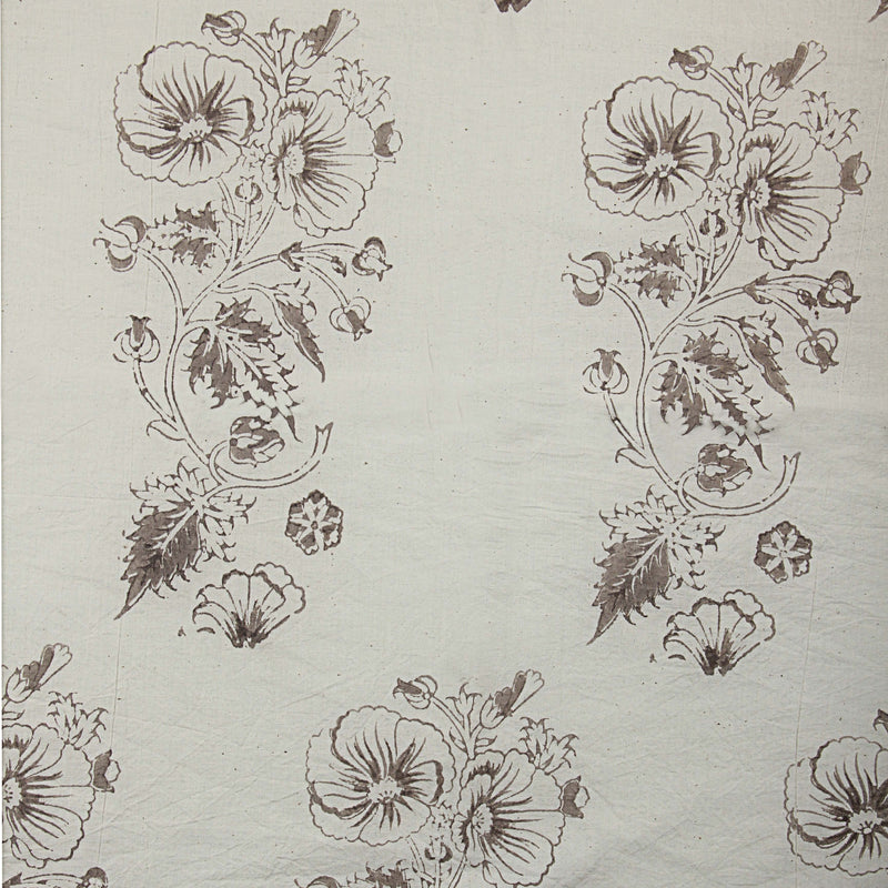 Natural Dyed White Hibiscus Block Print Cotton Fabric