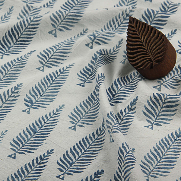 Natural Dyed White - Blue Block Printed Cotton Fabric