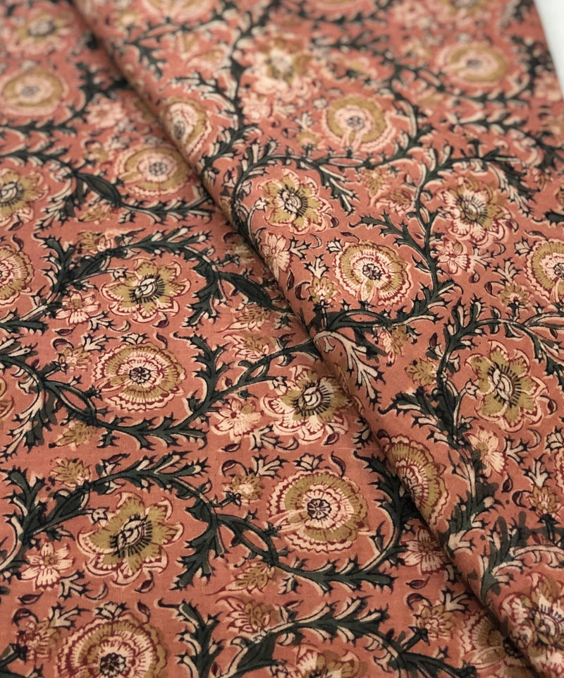 Orange Kalamkari Block Printed Fabric