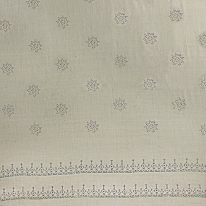 Khadi Silver Hand Block Star Print On Handloom soft Fabric