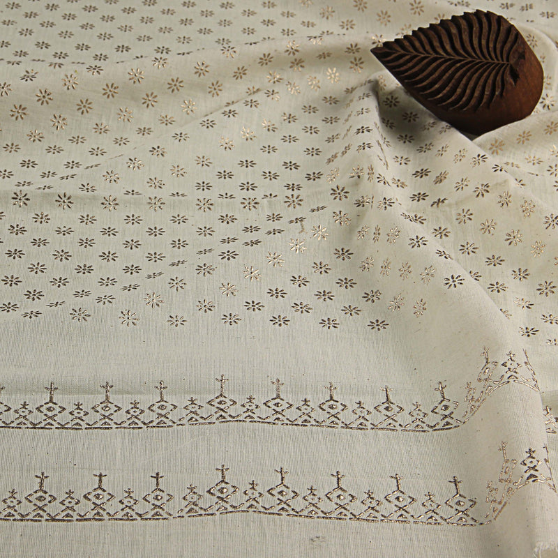 Khadi Twinkle Hand Block Print On Handloom soft Fabric Fabric