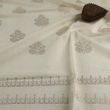 Khadi Leaf Print On Handwoven Fabric(3Meters)