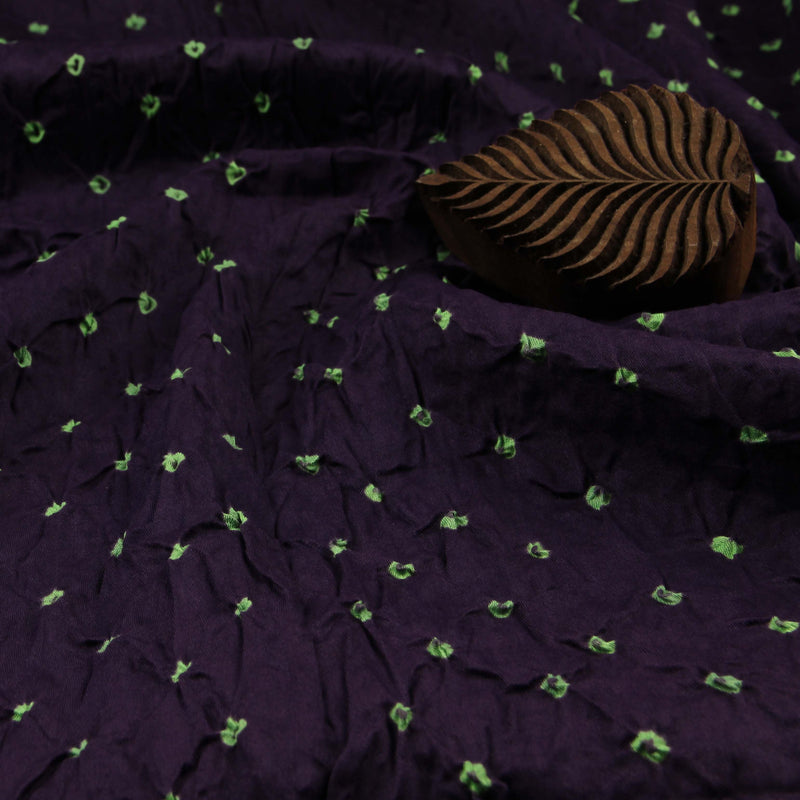 Purple And Parrot Green Bandhej Cotton Fabric (2.5 meters)