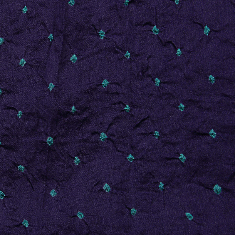 Purple And Sea Green Bandhej Cotton Fabric (2.5 meters)