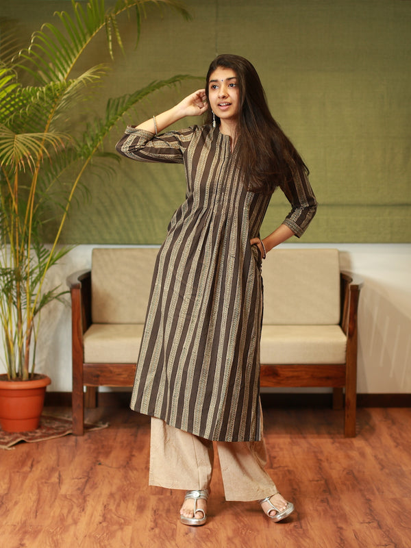 Ajrakh Ash Grey Pleated Kurta