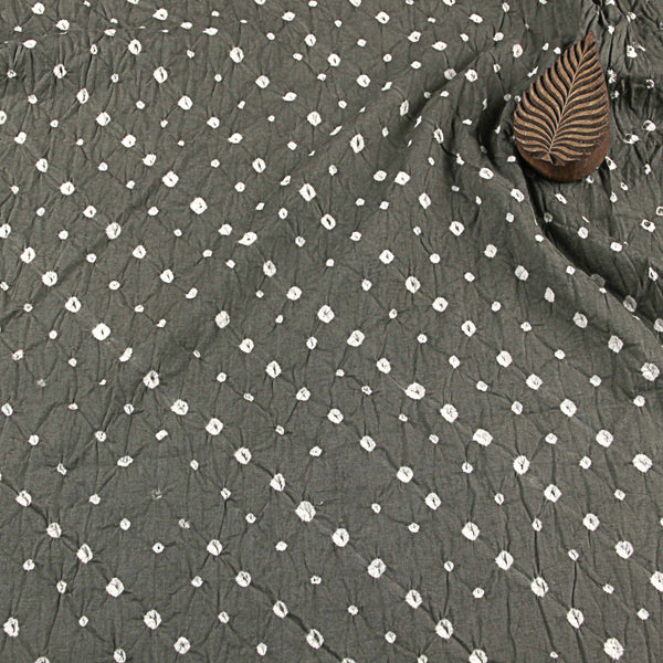 Grey with White Bandhej Cotton Fabric (2.5 meters)