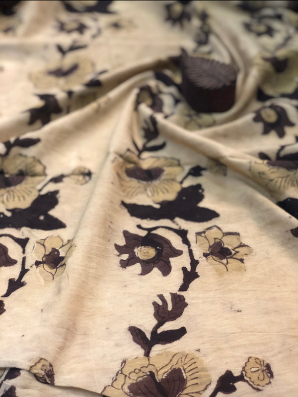 Beige Floral Trail Block Print Fabric