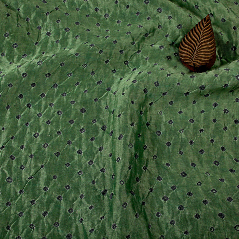 Parrot Green Bandhej Chanderi Silk Fabric (3 meters)
