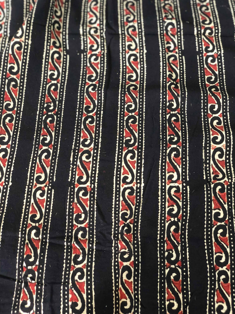 Black Vel Border Ajrakh Block Print Fabric