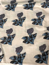 Grey Black Tulip Trail Block Print Fabric