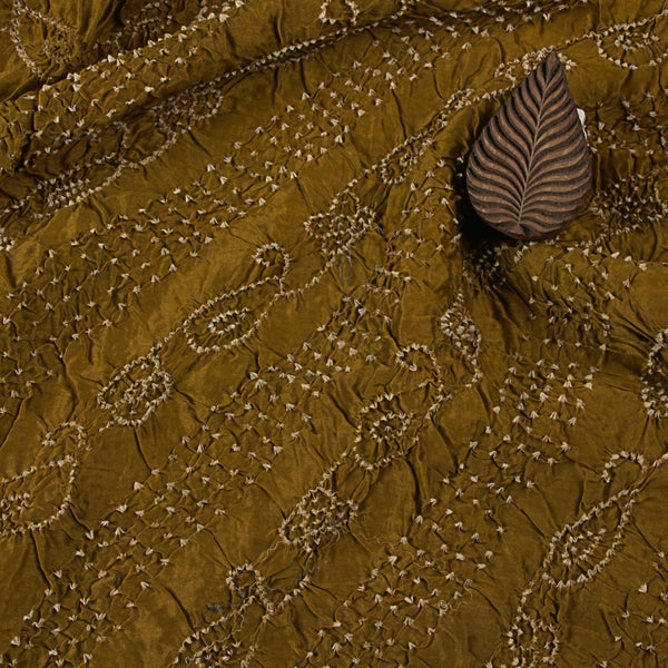 Earthy Bandhej Georgette Fabric (4 meters)