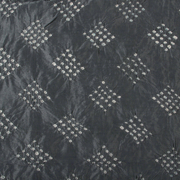 Greyish Blue Square Bandhej Chanderi Silk Fabric (2.5) Meter