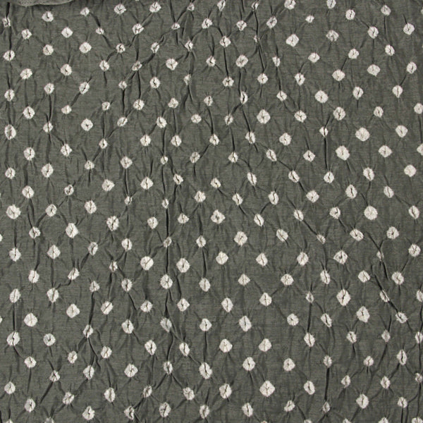 Grey Bandhej Chanderi Silk Fabric