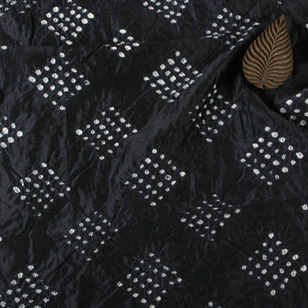 Black Square Bandhej Chanderi Silk Fabric