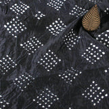 Dark Blue Square Bandhej Chanderi Silk Fabric