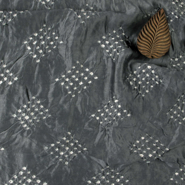 Grey Square Bandhej Chanderi Silk Fabric