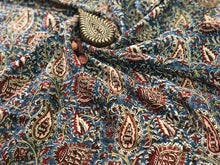 Kalamkari Indigo Jaal Mul Cotton Fabric