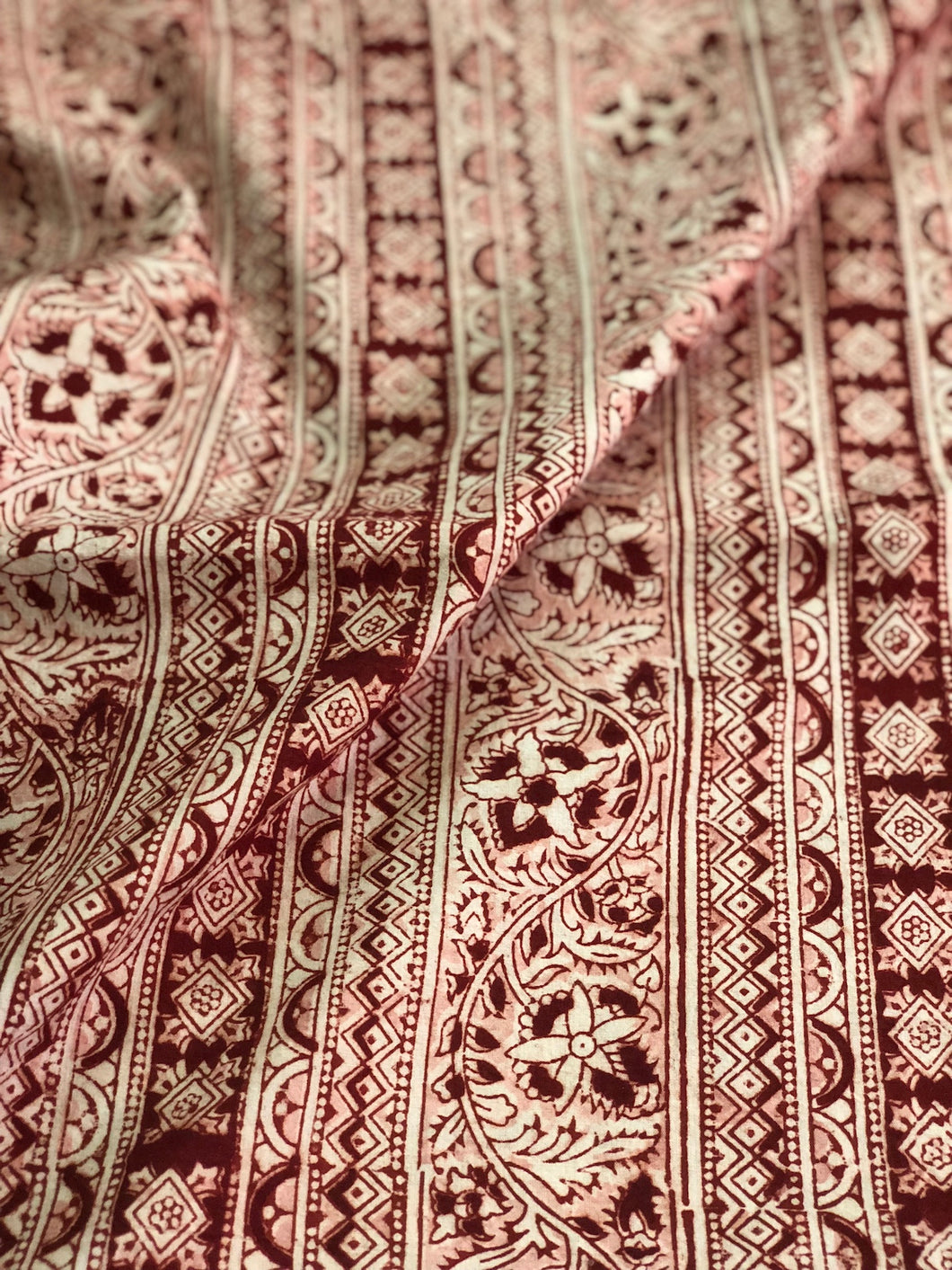 Kalamkari Phool Border Cotton Fabric