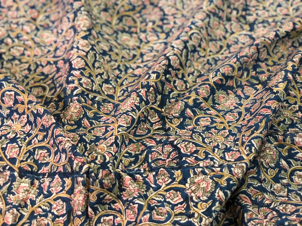 Kalamkari Indigo Bail Cotton Fabric