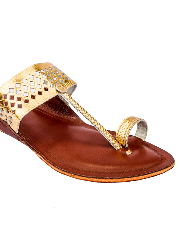 Diamond Punching Golden Upper and Tan Color Bottom Kolhapuri Chappal for Women