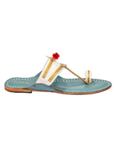 White and SkyBlue Kolhapuri Chappal for Women