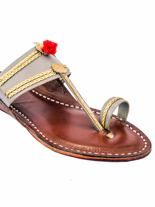 Grey and Light Brown Kolhapuri Chappal for Women