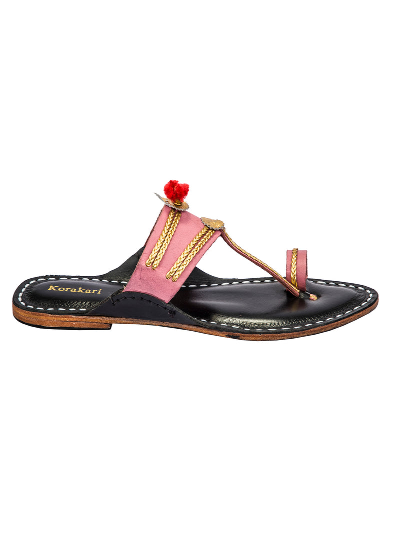 Baby Pink and Dark Brown Kolhapuri Chappal for Women