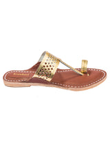 Diamond Punching Golden Upper Brown Base Kolhapuri Chappal for Women