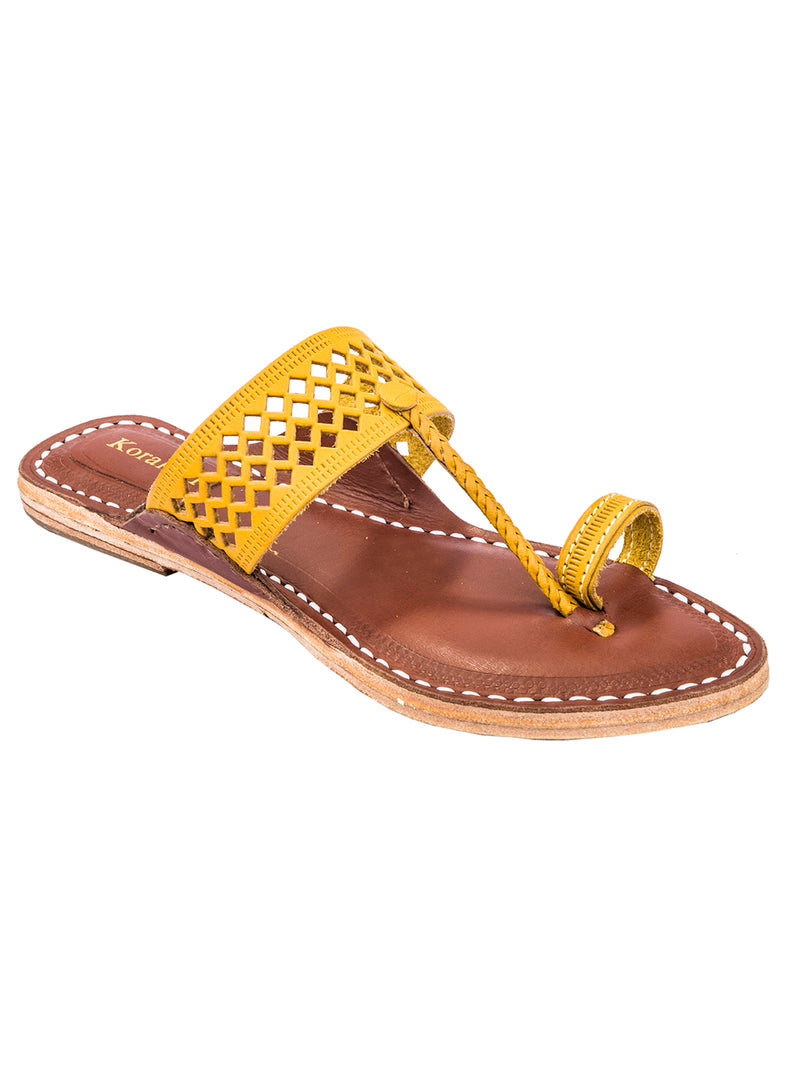 Diamond Punching Yellow Upper Brown Base Kolhapuri Chappal for Women