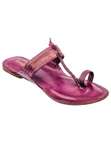Purple Kolhapuri Chappal for Women