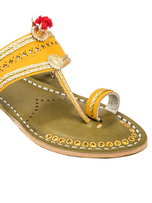 Yellow Upper and Seaweed Base Golden Braids Kolhapuri Chappal for Women