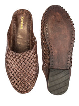 Brown Kolhapuri Half Shoe with Leather Chord