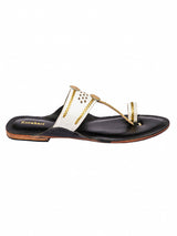 White Diamond Punching Kolhapuri Chappal for Women