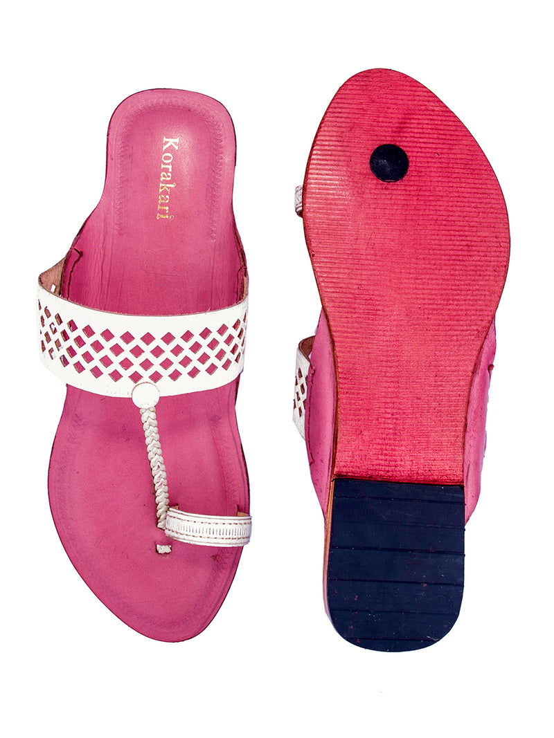 Diamond Punching White Upper with Baby Pink Base Kolhapuri Chappal for Women