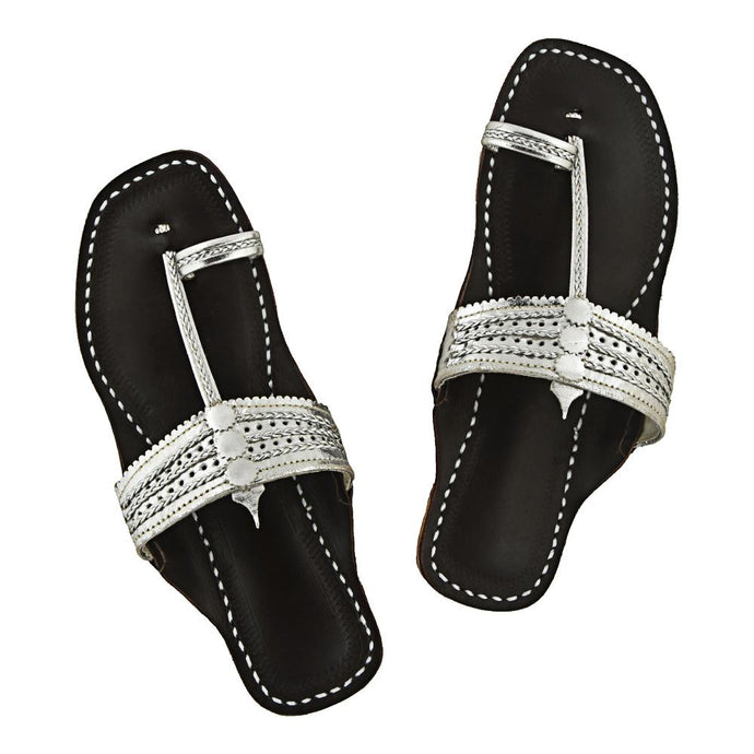 Silver Upper Dark Brown Base Kolhapuri Chappal