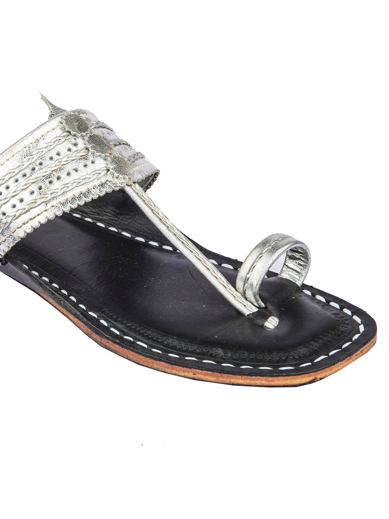 Silver Upper Dark Brown Base Kolhapuri Chappal for Women