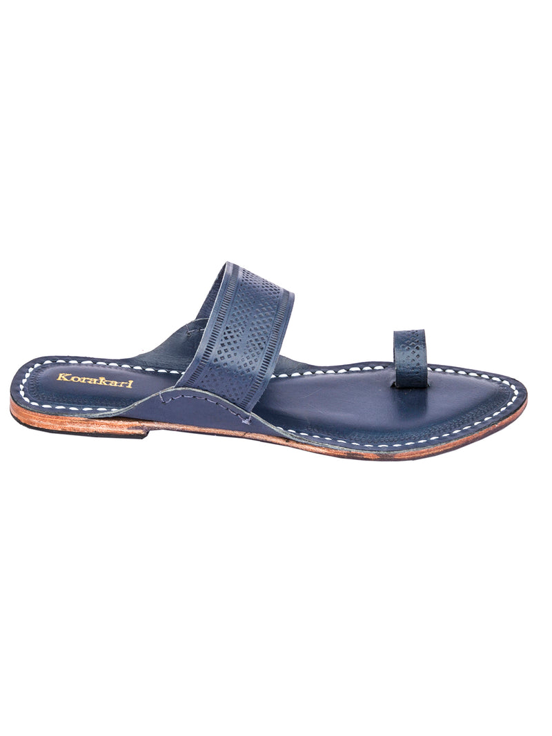Dark Blue Toe Style Leather Kolhapuri Sandal  for Women