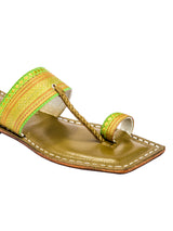 T-Shape Green Jari Kolhapuri Leather Sandal